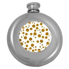 Tan Polka Dots Hip Flask (Round)
