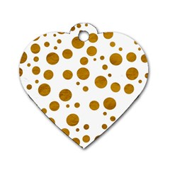 Tan Polka Dots Dog Tag Heart (Two Sided)