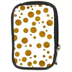 Tan Polka Dots Compact Camera Leather Case