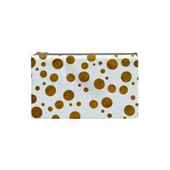 Tan Polka Dots Cosmetic Bag (small)