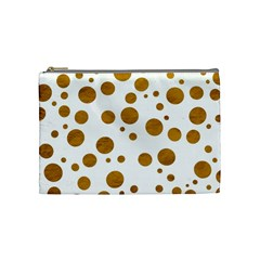 Tan Polka Dots Cosmetic Bag (medium)