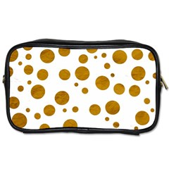 Tan Polka Dots Travel Toiletry Bag (two Sides)
