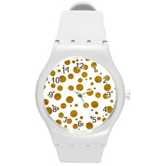 Tan Polka Dots Plastic Sport Watch (Medium)