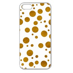 Tan Polka Dots Apple Seamless iPhone 5 Case (Clear)