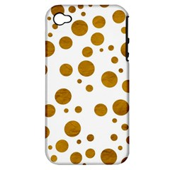 Tan Polka Dots Apple iPhone 4/4S Hardshell Case (PC+Silicone)