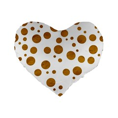 Tan Polka Dots 16  Premium Heart Shape Cushion