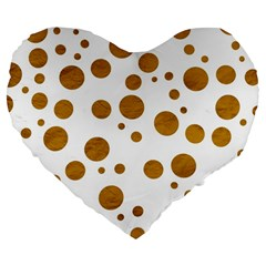 Tan Polka Dots 19  Premium Heart Shape Cushion