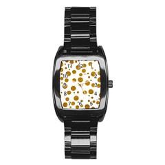 Tan Polka Dots Stainless Steel Barrel Watch