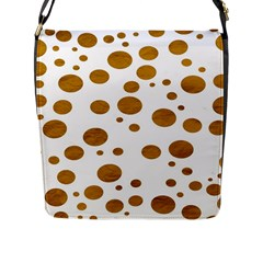Tan Polka Dots Flap Closure Messenger Bag (Large)