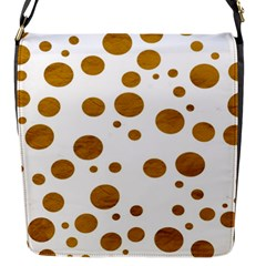 Tan Polka Dots Flap Closure Messenger Bag (Small)