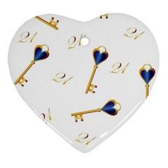 21st Birthday Keys Background Heart Ornament