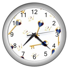 21st Birthday Keys Background Wall Clock (Silver)