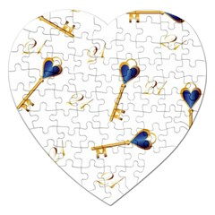 21st Birthday Keys Background Jigsaw Puzzle (Heart)