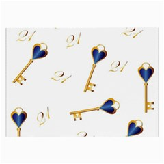 21st Birthday Keys Background Glasses Cloth (Large)