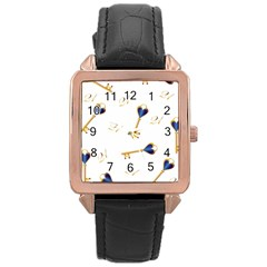 21st Birthday Keys Background Rose Gold Leather Watch