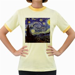 Vincent Van Gogh Starry Night Womens  Ringer T-shirt (Colored)