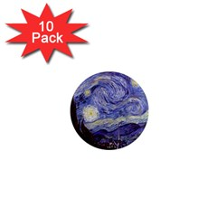 Vincent Van Gogh Starry Night 1  Mini Button Magnet (10 Pack)
