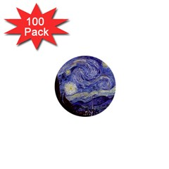 Vincent Van Gogh Starry Night 1  Mini Button (100 pack)