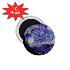 Vincent Van Gogh Starry Night 1.75  Button Magnet (10 pack)