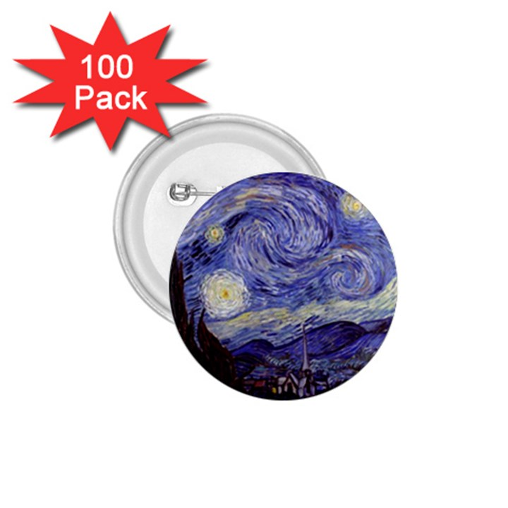 Vincent Van Gogh Starry Night 1.75  Button (100 pack)