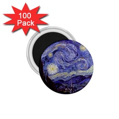 Vincent Van Gogh Starry Night 1 75  Button Magnet (100 Pack)