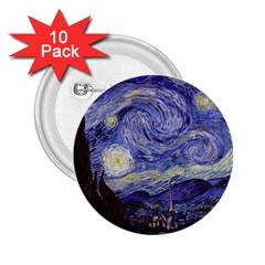 Vincent Van Gogh Starry Night 2.25  Button (10 pack)
