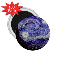 Vincent Van Gogh Starry Night 2.25  Button Magnet (100 pack)