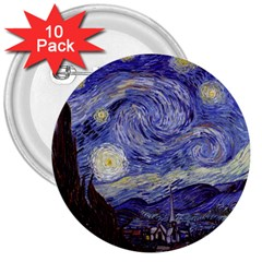 Vincent Van Gogh Starry Night 3  Button (10 pack)