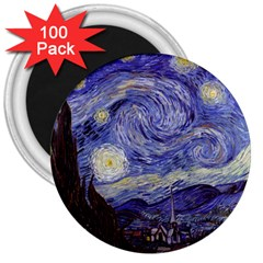 Vincent Van Gogh Starry Night 3  Button Magnet (100 pack)