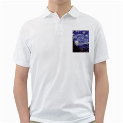 Vincent Van Gogh Starry Night Mens  Polo Shirt (White)