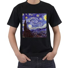 Vincent Van Gogh Starry Night Mens' Two Sided T-shirt (Black)