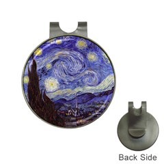 Vincent Van Gogh Starry Night Hat Clip with Golf Ball Marker
