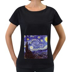 Vincent Van Gogh Starry Night Womens' Maternity T Shirt (black)