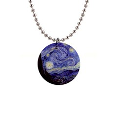 Vincent Van Gogh Starry Night Button Necklace