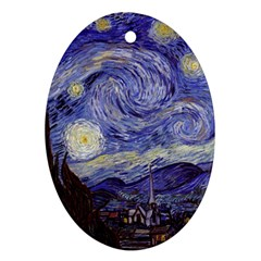 Vincent Van Gogh Starry Night Oval Ornament (Two Sides)