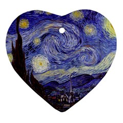 Vincent Van Gogh Starry Night Heart Ornament (Two Sides)