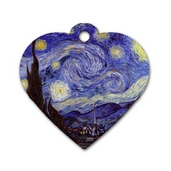Vincent Van Gogh Starry Night Dog Tag Heart (One Sided)