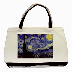 Vincent Van Gogh Starry Night Twin Sided Black Tote Bag