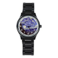 Vincent Van Gogh Starry Night Sport Metal Watch (Black)