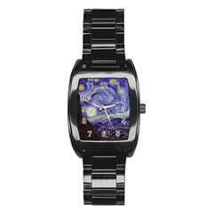 Vincent Van Gogh Starry Night Stainless Steel Barrel Watch