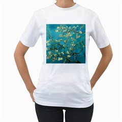 Vincent Van Gogh Blossoming Almond Tree Womens  T-shirt (White)