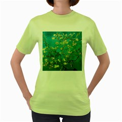Vincent Van Gogh Blossoming Almond Tree Womens  T-shirt (Green)