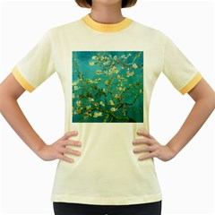 Vincent Van Gogh Blossoming Almond Tree Womens  Ringer T-shirt (Colored)