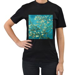 Vincent Van Gogh Blossoming Almond Tree Womens' Two Sided T-shirt (Black)