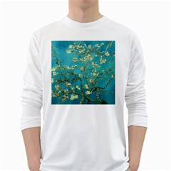 Vincent Van Gogh Blossoming Almond Tree Mens' Long Sleeve T-shirt (White)