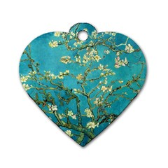 Vincent Van Gogh Blossoming Almond Tree Dog Tag Heart (One Sided)