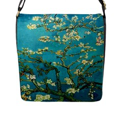 Vincent Van Gogh Blossoming Almond Tree Flap Closure Messenger Bag (Large)