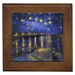 Vincent Van Gogh Starry Night Over The Rhone Framed Ceramic Tile