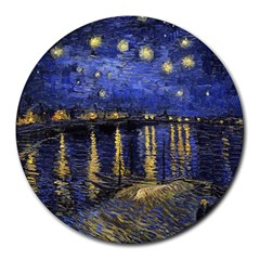 Vincent Van Gogh Starry Night Over The Rhone 8  Mouse Pad (Round)