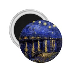 Vincent Van Gogh Starry Night Over The Rhone 2.25  Button Magnet